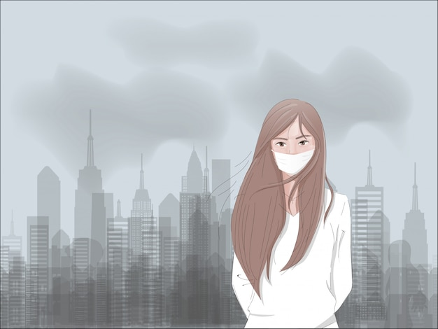 Concept de pollution de l'air avec l'usine et le dioxyde de carbone et une fille triste portant un masque. Vecteur Premium