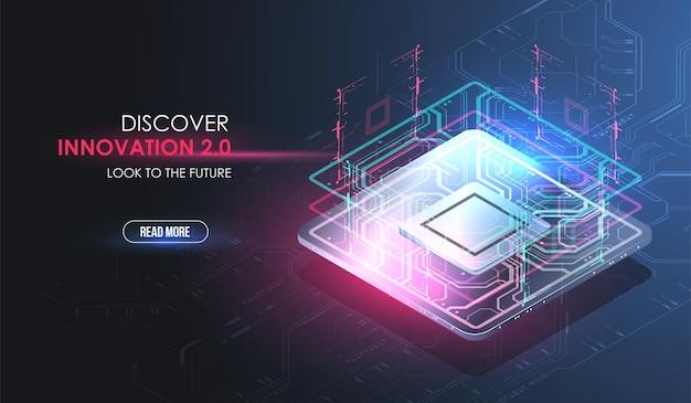Concept De Processeur Avec Des éléments Futuristes De Hud. Puce Numérique. Ai. Circuit Imprimé. Vecteur Premium