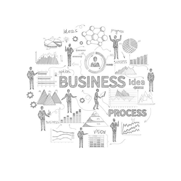 Concept de processus d'affaires avec des graphiques de rapport personnel et finances de croquis Vecteur gratuit