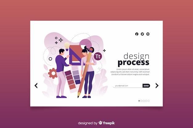 Concept De Processus De Conception De Page De Destination Vecteur gratuit