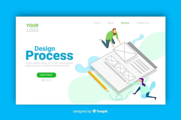 Concept de processus de conception pour la page de destination Vecteur gratuit