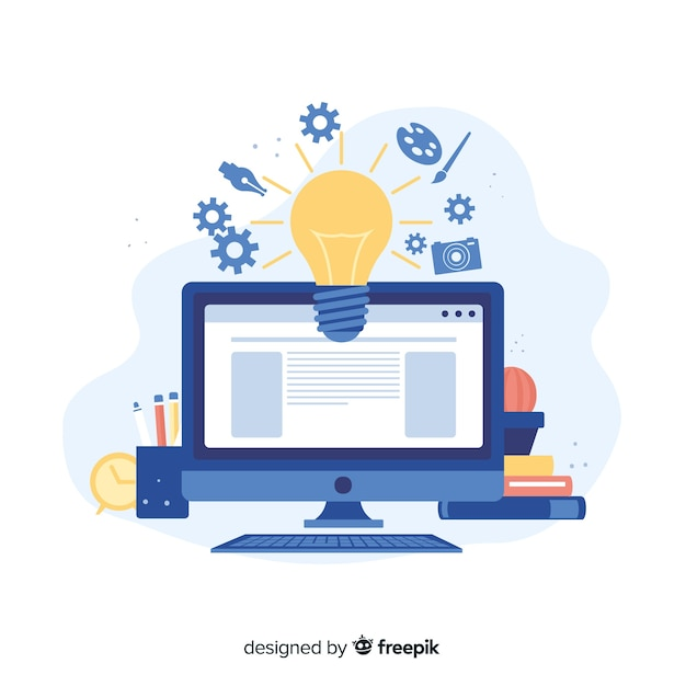 Concept De Processus Créatif De Conception Graphique Vecteur Premium