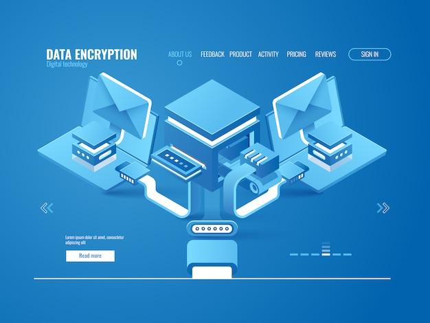 Concept de processus de cryptage de données, fabrique de données, envoi automatisé de courriels et de messages Vecteur gratuit