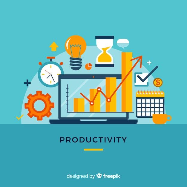 Concept De Productivité Moderne Avec Un Design Plat Vecteur gratuit