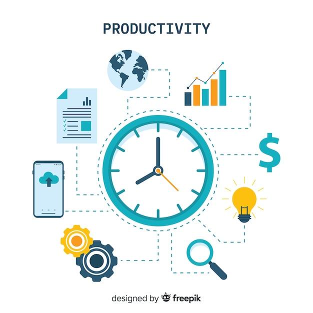 Concept De Productivité Moderne Avec Un Design Plat Vecteur Premium
