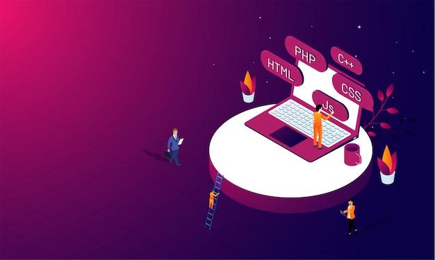 Concept de programmation de développement logiciel. Vecteur Premium