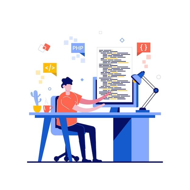 Concept De Programmation Freelance Avec Caractère. Vecteur Premium