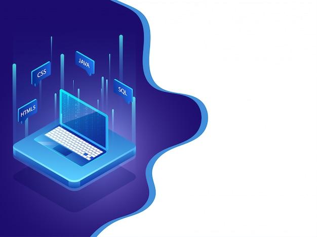 Concept de programmation logicielle. Vecteur Premium