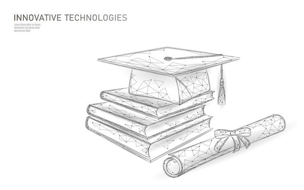 Concept De Programme De Certificat D'études Supérieures à Distance. Casquette De Graduation De Rendu 3d Low Poly, Livres, Conception Moderne Polygonale De Diplôme Vecteur Premium