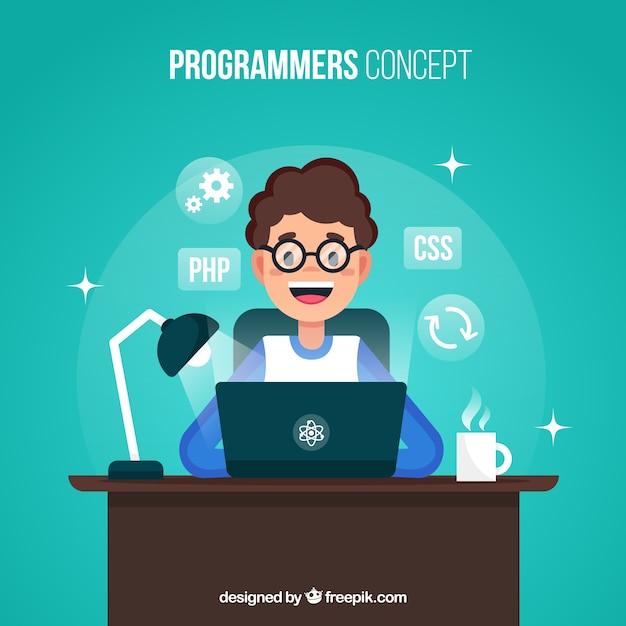 Concept De Programmeurs Avec Un Design Plat Vecteur gratuit