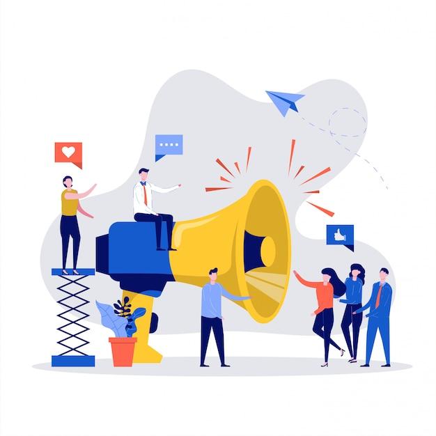 Concept De Promotion De La Publicité Commerciale. Haut-parleur Parlant à La Foule Avec Un Grand Mégaphone. Vecteur Premium