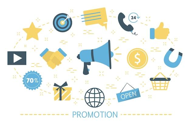 Concept De Promotion Sociale. Idée De Publicité Dans Les Médias Sociaux Vecteur Premium