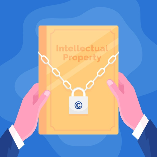 Concept De Propriété Intellectuelle Avec Document Et Serrure Vecteur Premium