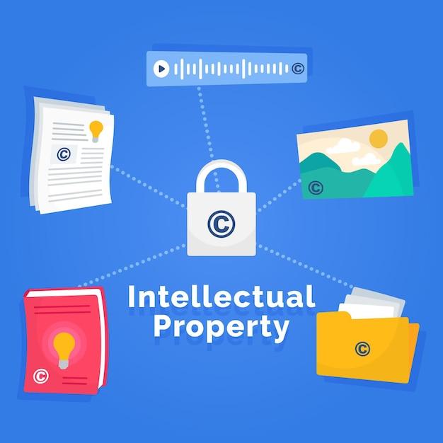 Concept De Propriété Intellectuelle Avec Serrure Vecteur Premium