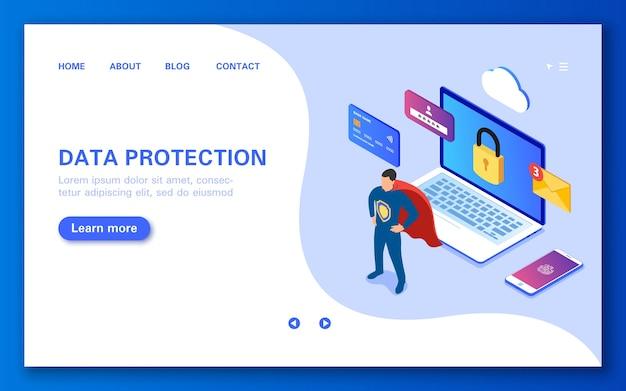 Le Concept De Protection Des Données Achats En Ligne Sécurisés Données Personnelles Sms Et Navigation Sur Internet Vecteur Premium