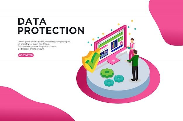 Concept de protection de données isométrique vector illustration Vecteur Premium