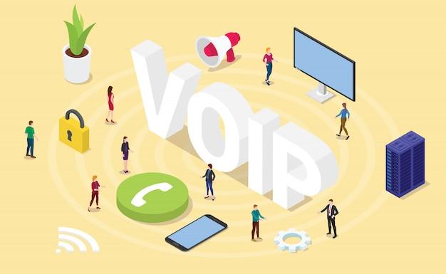 Concept De Protocole Internet Voix Sur Ip Avec De Gros Mots Et Personnes Modernes Isométrie Isométrique 3d Vecteur Premium