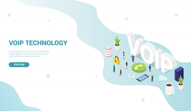 Concept De Protocole De Voix Sur Internet Voip Pour La Page D'accueil De Conception De Modèle De Site Web Vecteur Premium