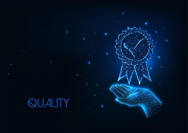 Concept De Qualité Premium Futuriste Avec Médaille De Maintien De Main Polygonale Basse Rougeoyante Vecteur Premium