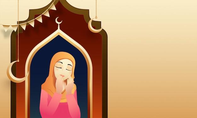 Le concept de ramadan mubarak avec une jeune femme islamique lisant sainte est Vecteur Premium