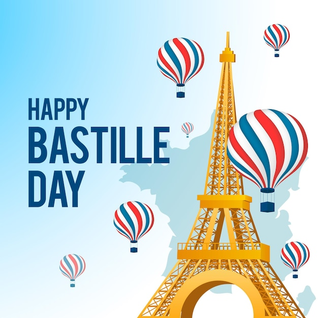 Concept Réaliste De La Journée Bastille Vecteur Premium
