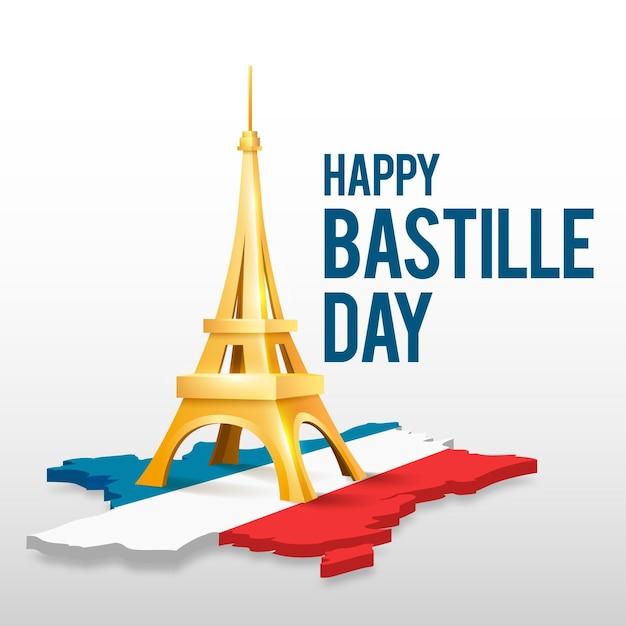 Concept Réaliste De La Journée Bastille Vecteur gratuit