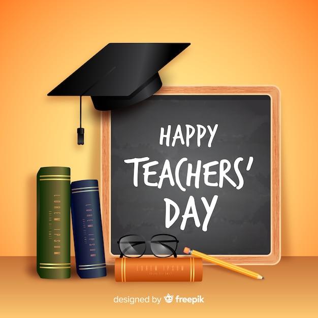 Concept réaliste de la journée des enseignants Vecteur gratuit