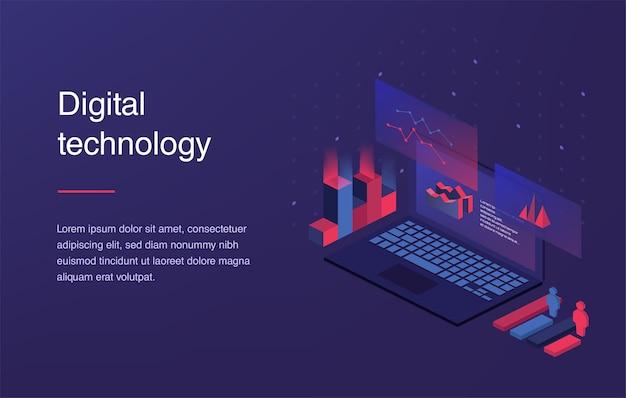 Concept de réalité augmentée. technologie de la ville intelligente. modèle de page de destination Vecteur Premium