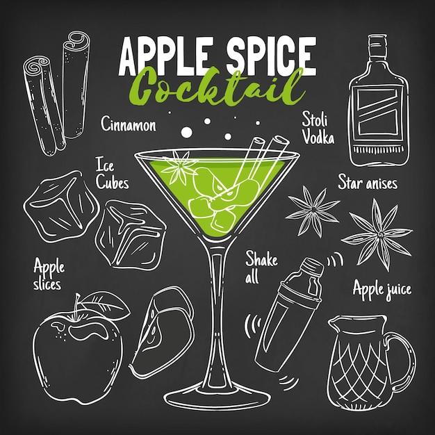 Concept De Recette De Cocktail Tableau Noir Vecteur gratuit