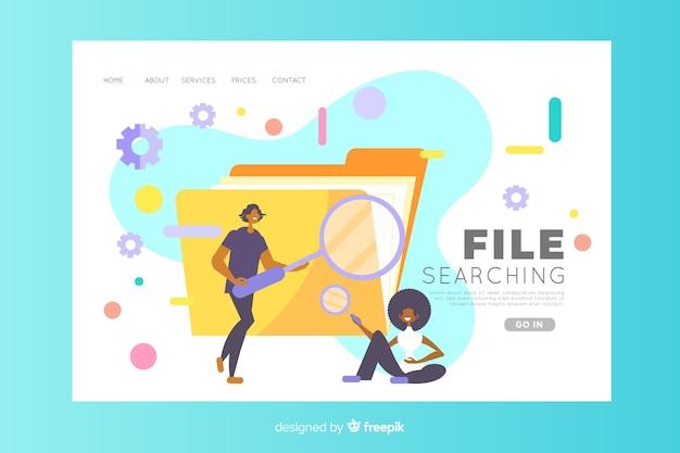 Concept de recherche de fichier pour la page de destination Vecteur gratuit