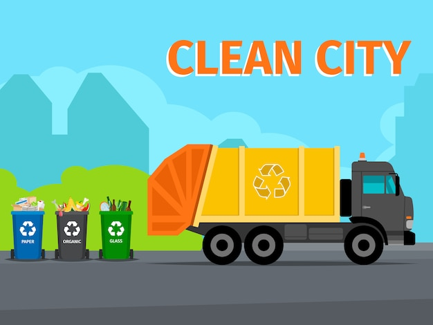 Concept de recyclage des déchets de la ville Vecteur Premium