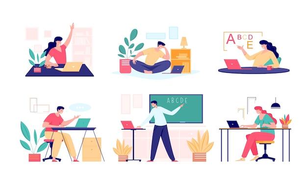 Concept De Rencontre De Classe En Ligne. Enseignant Masculin Et Féminin, Entraîneur De Tuteur D'université Ou étudiant Parlant En Classe. Cours En Ligne D'enseignement Virtuel à Distance Vecteur Premium