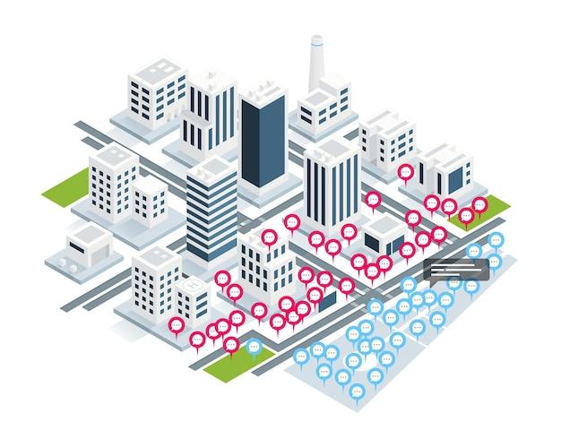 Le Concept De Rencontres Virtuelles Sur La Ville Isométrique. Vecteur Premium
