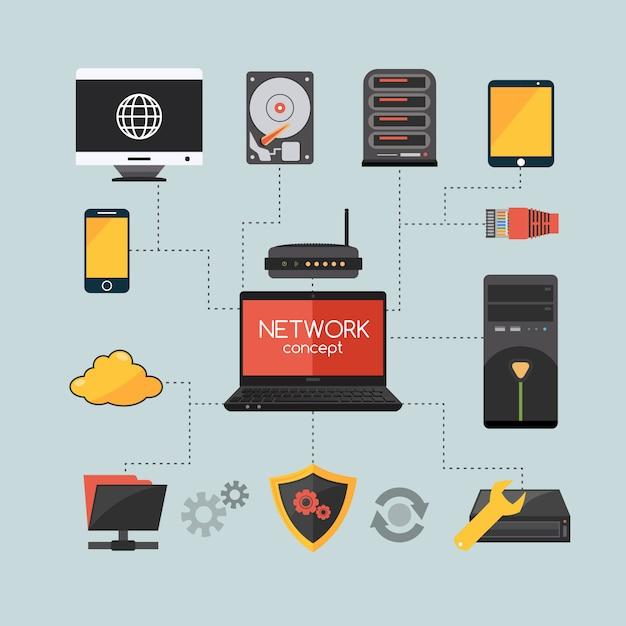 Concept de réseau informatique Vecteur gratuit