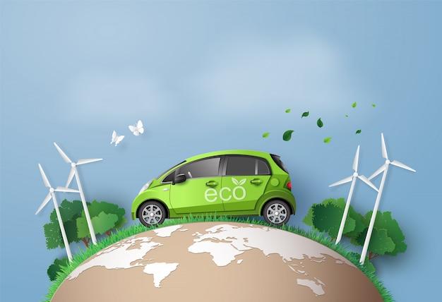 Concept de respect de l'environnement avec voiture écologique. Vecteur Premium