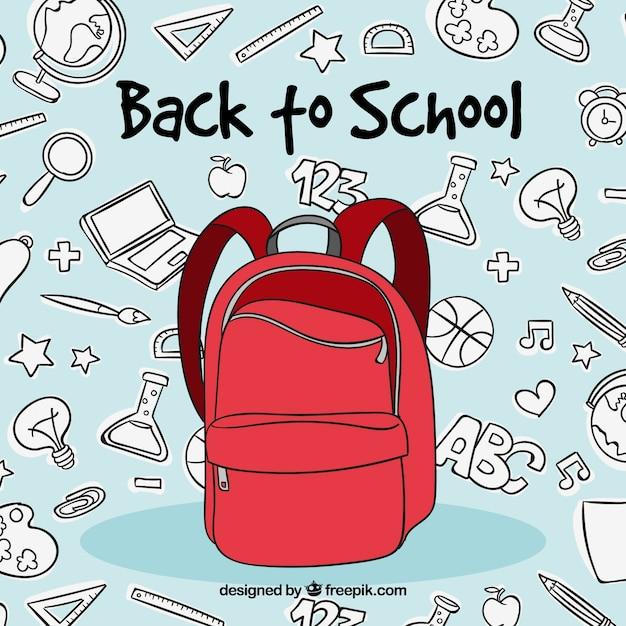 Concept de retour à l'école avec sac à dos rouge Vecteur gratuit