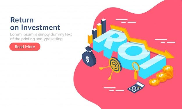 Concept de retour sur investissement (roi). Vecteur Premium