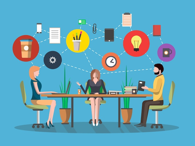 Concept de réunion d'affaires au design plat Vecteur Premium