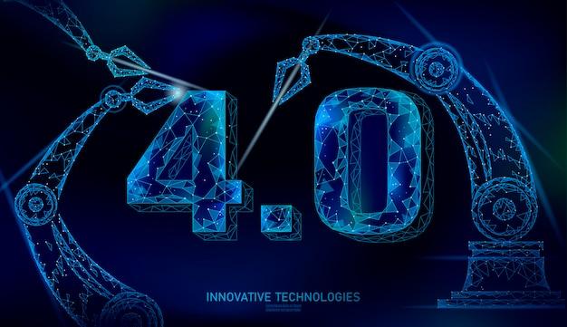 Concept De Révolution Industrielle Future Low Poly. Numéro Industry 4.0 Assemblé Par Bras Robotique. Gestion De L'industrie Des Technologies En Ligne. Illustration Du Système D'innovation Polygonale 3d Vecteur Premium