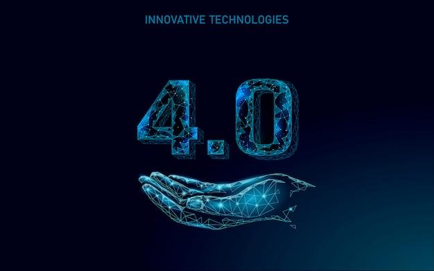 Concept De Révolution Industrielle Future Low Poly. Processus Cyber-autonome Artificiel De L'industrie 4.0 Ai. Gestion De L'industrie Des Technologies En Ligne. Illustration Du Système D'innovation Polygonale 3d Vecteur Premium