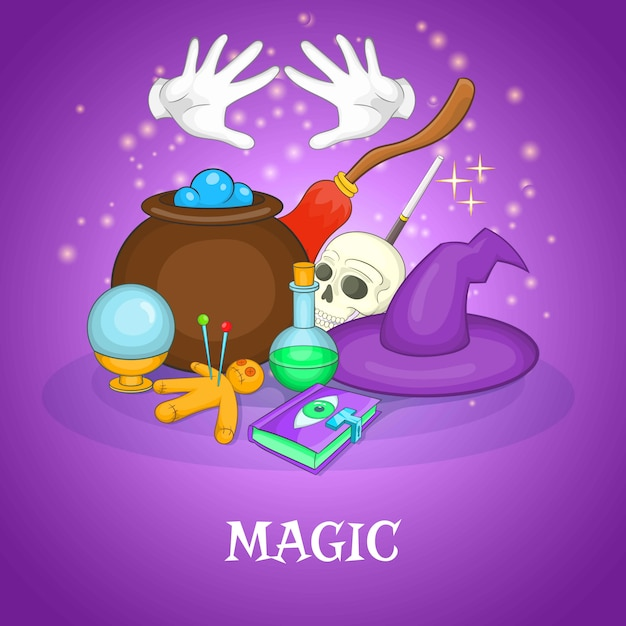 Concept de rituels de magicien, style cartoon Vecteur Premium