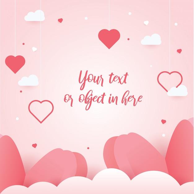 Concept de saint valentin de beaux fond de coeurs et Vecteur Premium