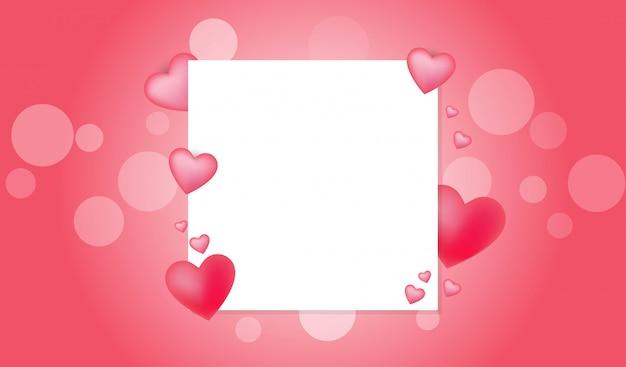 Concept de la saint-valentin avec espace de copie de carte blanche Vecteur Premium