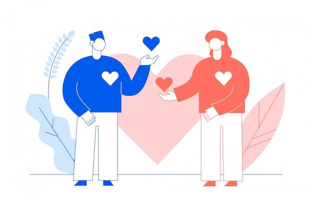 Concept de la saint-valentin avec des gens Vecteur Premium