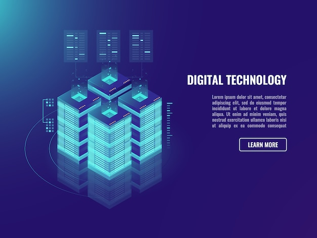 Concept de salle de serveur, stockage en nuage, technologie de blockchain Vecteur gratuit