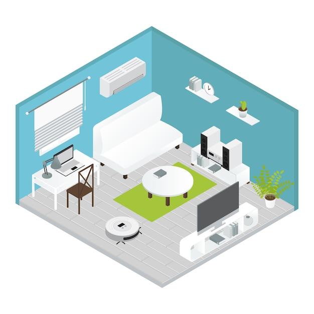 Concept De Salon électroménager Isométrique Avec Réparations Effectuées Tout Est Prêt à Vivre Vecteur gratuit