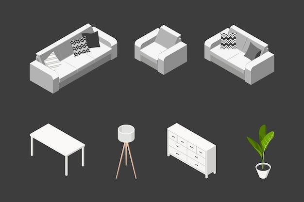 Concept De Salon Isométrique. Ensemble De Meubles De Style Scandinave. Vecteur Premium