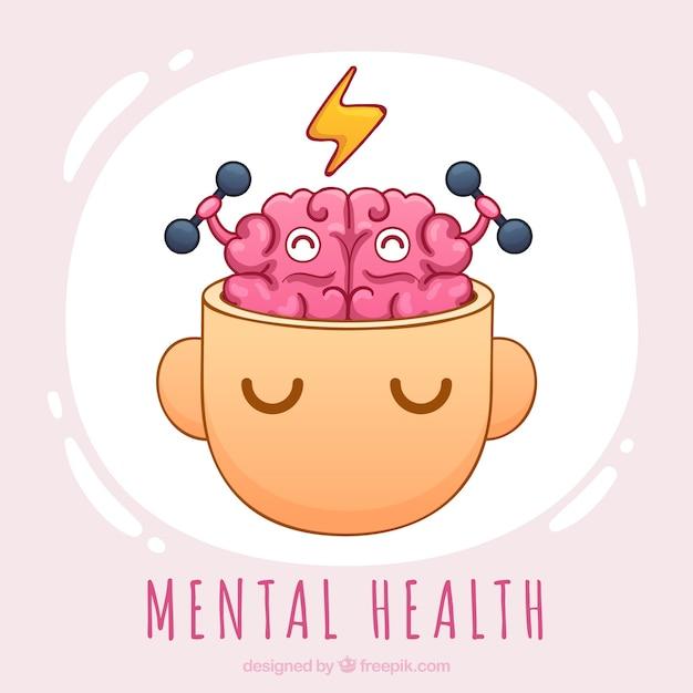 Concept de santé mentale dessinés à la main Vecteur gratuit