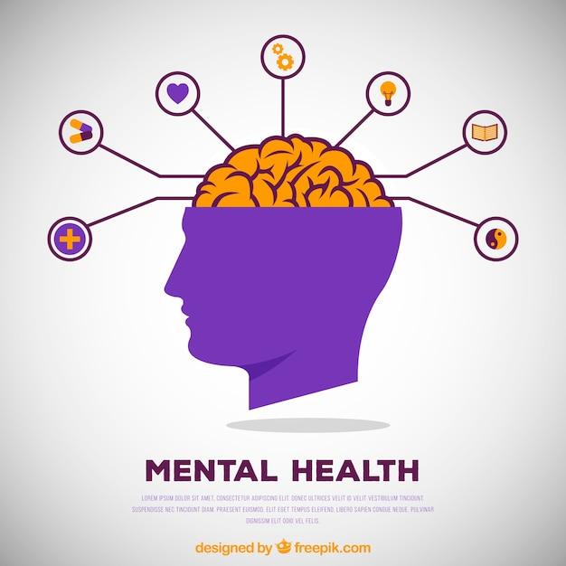 Concept de santé mentale moderne avec un design plat Vecteur gratuit