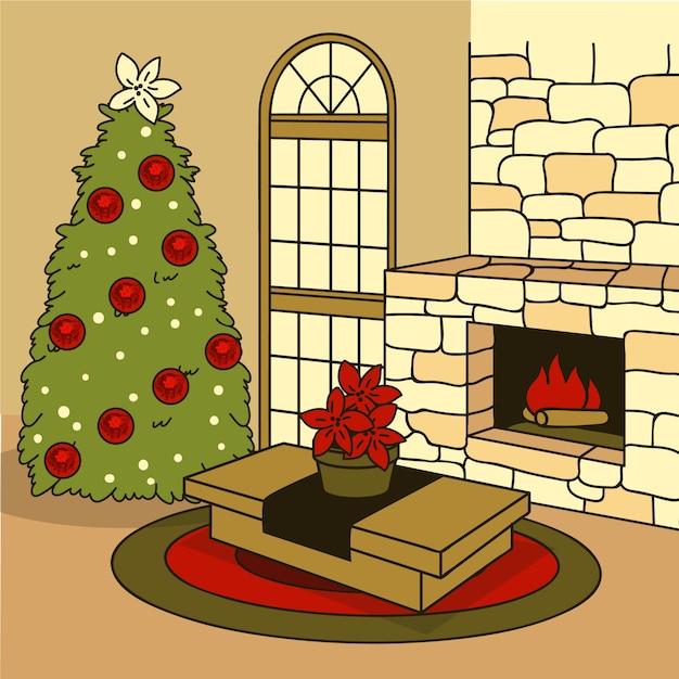 Concept de scène de cheminée de noël dessiné à la main Vecteur gratuit